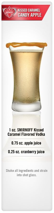 Smirnoff Kissed Caramel Candy Apple drink recipe with Smirnoff Kissed Caramel Flavored Vodka, apple juice