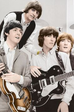 "The Beatles are a famous English band that originated in Liverpool, England. They became ""The Beatles"" in 1960 and consisted of four very talented and incredibly influential musicians; John Lennon, Paul McCartney, George Harrison, and Ringo Starr. Ringo Starr, George Harrison, Paul Mccartney, John Lennon, Toni Braxton, Pop Rock, Rock And Roll, Die Beatles, Beatles Guitar"