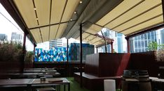 Retractable roof installed at Goldilocks Bar, Melbourne, by Melbourne Awning Centre #melbourne #retractable #roof