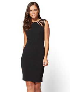 Shop Strap-Accent Sheath Dress. Find your perfect size online at the best price at New York & Company.