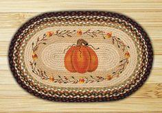 "Pumpkin & Candy Corn Garland Oval Braided Jute Rug 20""x30"""