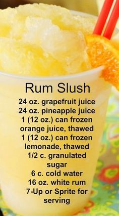 Rum Slush Refreshing citrus taste and super-cool slushiness. - Sprite - Ideas of Sprite - Rum Slush Refreshing citrus taste and super-cool slushiness. Party Drinks, Cocktail Drinks, Fun Drinks, Yummy Drinks, Cocktail Recipes, Margarita Recipes, Summer Cocktails, Drinks With Rum, Rum Mixed Drinks