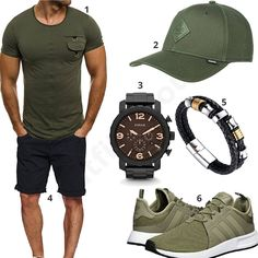 Schwarz-Grünes Outfit für Herren (m0390) #outfit #style #fashion #menswear #mensfashion #inspiration #shirt #cloth #clothing #männermode #herrenmode #shirt #mode #styling #sneaker #menstyle