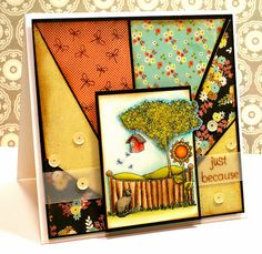 Just because by Tobi Crawford Tutorial: Sunburst Background Art Pad, Distress Markers, Creative Play, Copics, Clear Stamps, Craft Tutorials, Pattern Paper, My Design, Easy Designs