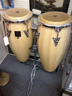 """Pair Aspire LP Bongos w/Stand 27"""" tall x 13"""" across top Like new condition! Priced @ $385 with a 20% discount when you mention this ad. Booth 026 Can be seen at Lula B's, 1010 N. Riverfront Blvd., Dallas, TX 75207 Mon. -- Fri. 10A -- 6P Sun. 12P -- 6P Read more: http://dallas.ebayclassifieds.com/musical-instruments/dallas/pair-aspire-lp-bongos-w-stand/?ad=23107644#ixzz258wRYkEo"""
