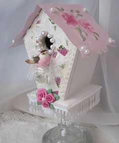 DIY-Shabby Birdhouse (Thrift/Recycled Birdhouse glued to Dollar Store Candle Stand Then Embellished with scrapbook paper, and sewing scraps)