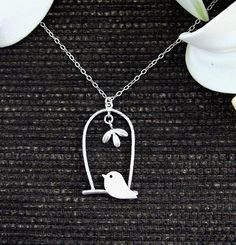 Bird in the Cage and leaf Sterling Silver Necklace by hotmixcold, $26.00
