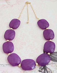 Deep Purple Statement Necklace from EarringsNation in Pantone's Radiant Orchid #coloroftheyear2014 #pantone #radiantorchid Bridesmaid gifts Purple Weddings