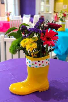 Rain boots with colorful flowers-Perfect centerpiece for a spring/summer party!: