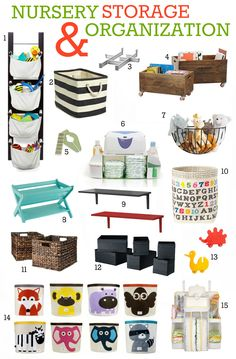 Nursery Storage and Organization... Love, love, love 4, 10, and 8... But there are other good ideas on the link