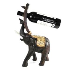 Elephant Carved Rain Tree Wooden Wine Bottle Holder