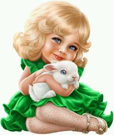 Cute girl with cute rabbit :) Disney Wallpaper, Cartoon Wallpaper, Girl Cartoon, Cute Cartoon, Cute Kids, Cute Babies, Doll Painting, Baby Art, Cute Dolls