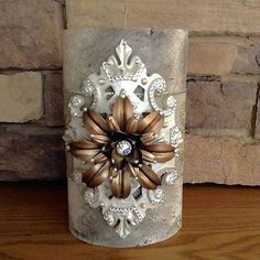 Luxury-Pillar-Candle-Swarovski-Crystals-Home-Decor-5x9-Single-Wick-Candle