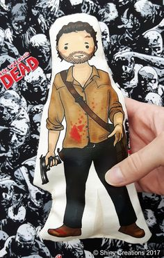 Rick Grimes - The Walking Dead inspired cartoon, cuddly, fabric, doll, plushie, plush, collectible, TV show, comic book, character - £9.00