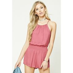 Forever21 Smocked-Waist Romper ($18) ❤ liked on Polyvore featuring jumpsuits, rompers, rose, forever 21 rompers, forever 21, forever 21 romper, sleeveless romper and red rompers