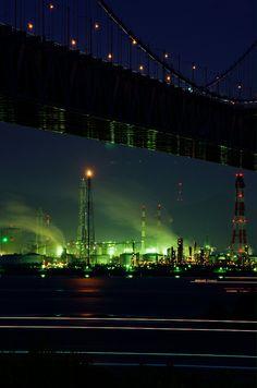 Night industrial district, Sakaide,  Kagawa, Japan