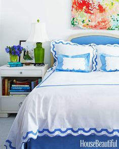 The client's bed was reupholstered in a soothing shade of blue from Gray Line Linen.