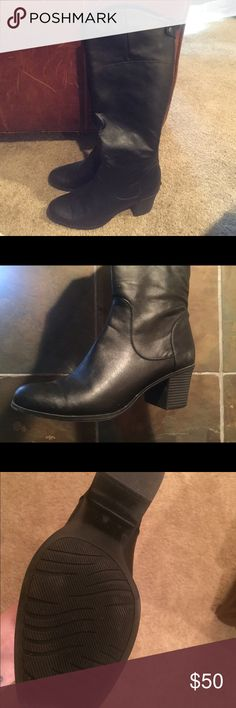 Black faux leather fall boots! Black, just below the knee, zip from back of heel all the way up to the top and small latch button on the top. Very comfortable. Worn once, as you can see from the photo, the bottoms have barely any wear. Purchased at DSW White Mountaineering Shoes Heeled Boots