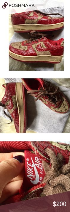 Gucci for Nike Air Force ones 100% authentic Gucci Air Force ones Nike shoes. Women's size 6 or boys size 5. Slight wear on fabric which is pictured but nothing major. Not trying to sell these fast so please no lowballing. Bundle for discount. Nike Shoes