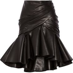 Black leather. Pleated and gathered front, flared asymmetric hem, fully lined. Zip fastening along back. 100% leather (Lamb); lining: 52% viscose, 48% cotton. …