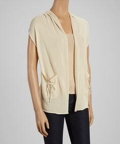 Look at this #zulilyfind! Beige Floral Crochet Vest #zulilyfinds