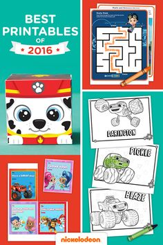 We're recapping some of our favorite Nick Jr. kids printables: coloring pages, activity packs, and games from our popular shows like PAW Patrol, Blaze and the Monster Machines, Shimmer and Shine, Bubble Guppies, Rusty Rivets, and more.