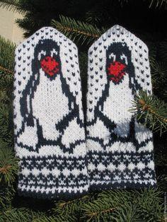 Купить Варежки Пингвины - варежки, варежки женские, варежки ручной работы, варежки вязаные