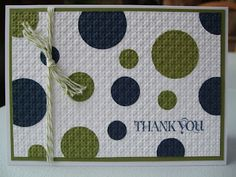 """Circles Card - love the navy/old olive combo--I""""m really on a circle punches card roll!!"""