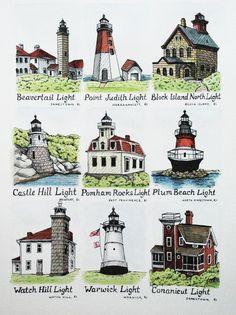 Lighthouses of Rhode Island Lighthouse Lighting, Lighthouse Art, Lighthouse Photos, Narragansett Bay, Beach Lighting, Newport Rhode Island, Block Island, East Coast, New England