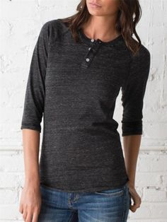 This is my absolute favorite shirt in my closet. Eco-friendly women's 3/4-sleeve raglan henley at alternativeapparel.com