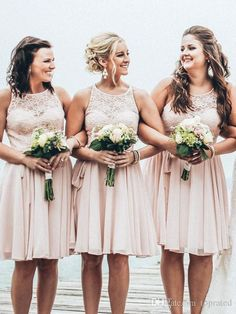 Light Pink Short Bridesmaid Dresses Vintage Lace Jewel Neck Sleeveless Knee Length Chiffon 2017 Summer Beach Maid of Honor Dress Party Gowns Bridesmaid Dresses Cheap Maid of Honor Dresses Online with 84.0/Piece on Toprated's Store | DHgate.com