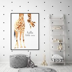 Shop our range of beautiful nursery prints for kids. Discover our stylish nursery wall art collections of inspirational quotes for children. Home of the original Hello Little One Giraffe print. Baby Boy Nursery Room Ideas, Safari Nursery, Baby Boy Rooms, Baby Room Decor, Nursery Wall Art, Animal Print Nursery, Wallpaper For Nursery, Box Room Nursery, Baby Giraffe Nursery