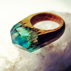 Handmade wood ring - Jewelry Resin - Oak