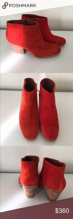 New Rachel Comey Mars Boots in Persimmon Suede 7.5 New without box Rachel Comey Mars boots in persimmon / red orange suede. Wood block mid-heel. Size 7.5. Never worn, just tried around the house but never wore out. Rachel Comey Shoes Ankle Boots & Booties
