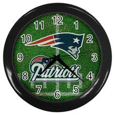"New England Patriots NFL Team [10"" Wall Clock Black/Silver Frame]"