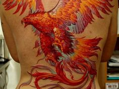 girl with great red phoenix back tattoo