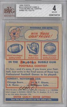 Contest Card A BVG GRADED 4 (Football Card) 1956 Topps #CA by Topps. $60.00. 1956 Topps #CA - Contest Card A BVG GRADED 4