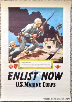 1945 USMC MARSHALL ISLANDs Marines Original Vintage WW2 War Recruiting Poster