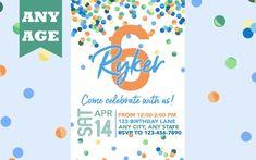 Sixth Birthday Invitation, Blue Confetti, Boy 6th Birthday Invite, Confetti Birthday, Any Age, Printable, Boy Birthday Invitation, Printed