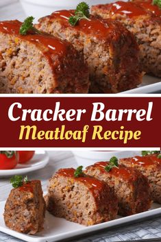 Cracker Barrel's Meatloaf Recipe is classic comfort food made with ground beef, onions, bell pepper, cheddar cheese, Ritz crackers and a sweet, savory glaze on top! Ritz Cracker Meatloaf Recipe, Cracker Barrel Meatloaf, Ritz Cracker Recipes, Cracker Barrel Recipes, Good Meatloaf Recipe, Best Meatloaf, Meatloaf Recipes, Meat Recipes, Cooking Recipes