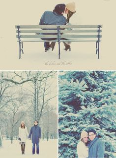 If only it would snow here... We can't even have a week of cold weather... engagement pictures, park benches, winter wonderland, engagement pics, couple pics, winter engagement photos, photo shoots, wonderland photoshoot, cold weather