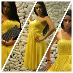 Il giallo è il colore dell'anno! Abito longette con corpetto di pizzo e gonna in chiffon. Venite a vederlo nei nostri stores e su www.noikika.com.  prom dress evening dress #pizzo #lacedress #lace #lacebodice #yellow #giallo #coloroftheday #coloroftheyear #abito #dress #corto #chiffon #chiffondress #dressoftheday #picoftheday #instaedit #instalike #instacool #instagood #shoponline #elegance #party #18birthday #grandiemozioni #elegant #style #moda #fashion #prom #promdress #eveningdress