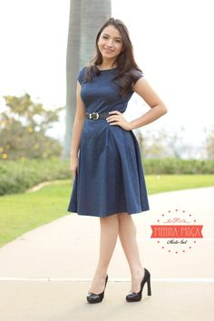 Vestido Godê Azul Marinho