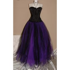 womens ladies tutu skirt long purple black tulle goth dance bridal... ($80) ❤ liked on Polyvore featuring dresses, long dress, long evening gowns, gothic prom dresses, purple gown, bridal corset and victorian ball gowns