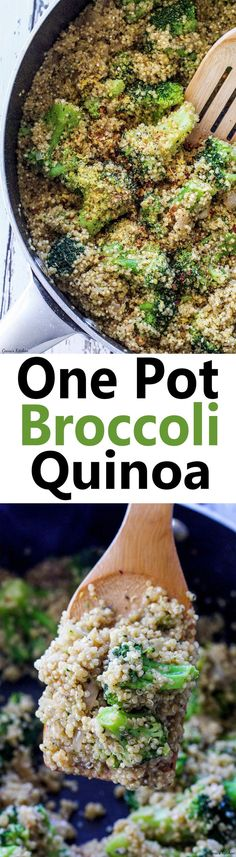 Easy Stovetop One Pot Broccoli Quinoa ready in only 25 minutes! #MeatlessMonday #Vegan