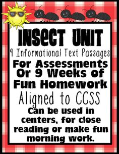 9 Insect Passage for Close Reading, Text Evidence, Assessments and More from 247Teacher on TeachersNotebook.com (68 pages)  - Common Core Aligned Insect Themed Passages