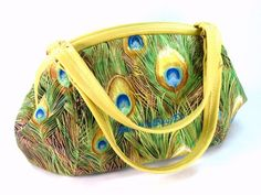 Peacock Print Leather Trim Doctor Bag Purse - pinned by pin4etsy.com