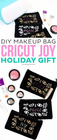 DIY Makeup Bag - Cricut Joy Holiday Gift - DIY Cricut Gift Idea - Cricut Holiday Gift Idea - Printable Crush #cricutjoy #cricut #cricuttutorials #cricutmade #cricutcreated #holidaygiftideas #christmasgiftideas via @printablecrush Joy Holiday, Diy Holiday Gifts, Christmas Diy, Cricut Tutorials, Cricut Ideas, Diy Makeup Bag, Printable Designs, Holidays, Christmas Printables