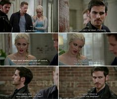"""""""Wonderful. Well, Shall we send Sneezy after her then? Or Happy? Which is the dwarf she despises?"""" Hook, David and Elsa - 4 * 8 """"Smash the mirror"""" #CaptainCharming #FrozenHook"""