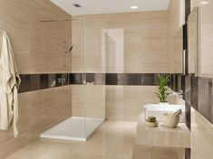 Modern Bathroom Design Ideas Shower Cubicle Sand Color Chocolate Color  Glass Tile Border